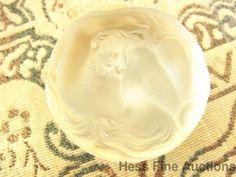 Rare Lalique Daphne Powder Art Nouveau Boite Trinket Hinged Glass Round Box cnx #ArtNouveau