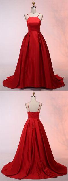 elegant red spaghetti strap red satin prom dress