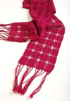 This lacy number is a perfect accent scarf ready for a night on the town. Directions can be found below. http://schachtspindle.com/dealers/project-cards/universal-lovely-leno-scarf.pdf