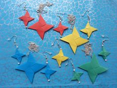 New Hand Made ORIGAMI Necklace + Earrings Set With BEADING (Choice of colours)