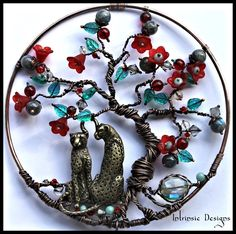Gemstones, Crystals and Leopards, Tree of Life Wire Suncatcher in Copper and Bronze. $70.00, via Etsy.