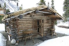Dick Proenneke's cabin in Twin Lakes, Alaska. He lived alone in the Alaskan wilderness for 30 years, and moved back to civilization at age 82.