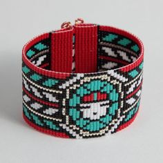 Native American Zuni Sun God Bead Loom Bracelet by PuebloAndCo, $19.99
