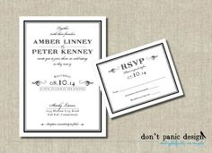 Printable Wedding Invitation Classic Foraml by DontPanicDesign, $20.00