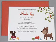 Woodland Animals A2 Flat Note Baby Shower Invitations by RatDogInk, $17.00