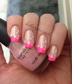 Polka dots and neon French tips
