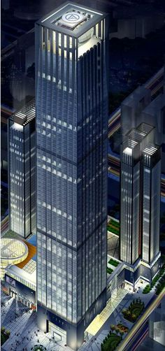 Maoye Plaza Shenyang, China :: 75 floors, the symbol on the roof?  heliport/or not