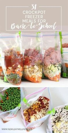31 Crockpot Freezer Meals for Back-to-School Simplify back-to-school season. Here are 31 amazing crockpot freezer recipes that I've tried myself (grocery list included! - 31 Crockpot Freezer Meals for Back-to-School – New Leaf Wellness Slow Cooker Freezer Meals, Healthy Freezer Meals, Make Ahead Meals, Crock Pot Cooking, Healthy Crockpot Recipes, Slow Cooker Recipes, Freezer Recipes, Freezer Cooking, Freezer To Crockpot Meals