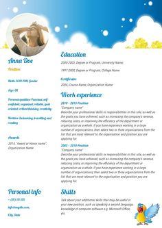 Babysitter resume sample, made on Wilda Babysitter Resume, One Page Resume, Resume Skills, Babysitting, Resume Templates, Save Yourself