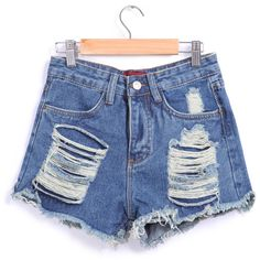 Ripped Fringe Denim Blue Shorts (€13) ❤ liked on Polyvore