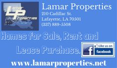 Lamar Properties homes for sale, rent, or lease purchase. Be a new home owner: Credit scores do not disqualify you. Call today for more details  (337) 889-5508.