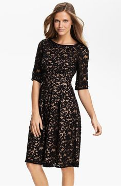 Adrianna Papell Lace Overlay Fit & Flare Dress