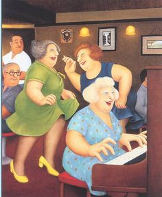 """Beryl Cook """"Beryl Cook, September 1926 – 28 May was an English artist best known for comical paintings of people. Beryl Cook, Cooking Brussel Sprouts, Plus Size Art, English Artists, British Artists, Funny Sexy, Chant, Fat Women, Naive Art"""