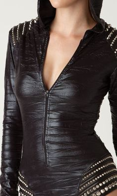 Hooded trashbag romper bodysuit with leather by laroxxhollywood