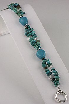 COO IDEA:  PARTLY DOUBLE STRAND!!!!     .......................................Turquoise Treasure Bracelet (eebeads.com)