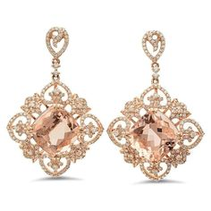 8 CT Cushion Morganite & 1.45 CT Diamond Earrings, Anniversary Gifts, RAVEN FINE JEWELERS, Morganite Filigree Earrings, Heart, Cushion Morganite Earrings, Celebrity Red Carpet Style Earrings, Fine Jewelry Gifts for Women, Beverly Hills