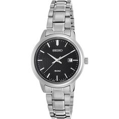 Seiko Watches Womens Neo Classic Stainless Steel Watch ($76) ❤ liked on Polyvore featuring jewelry, watches, metalic, stainless steel jewelry, stainless steel watches, water resistant watches, stainless steel wrist watch and seiko watches