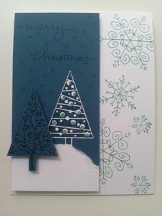 Festival of trees in midnight muse ink and night of navy paper.cased from Connie Stewart's flash cards.
