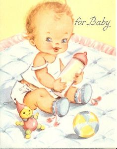 Ideas Baby Cards Illustration Ideas For 2019 Retro Baby, Vintage Greeting Cards, Vintage Postcards, Vintage Images, Baby Kind, Baby Love, Rock A Bye Baby, Old Cards, Baby Art