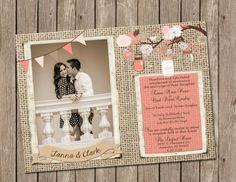 Coral, Rustic, Wedding, Invitation, burlap & jars, Digital file, Printable