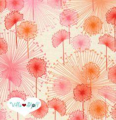 Pusteblumen Stoff ❉ Baumwollstoff Blumen cherry