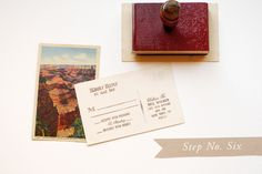 "Vintage postcards are a great way to incorporate color and personality into your invitation suite.  We chose a great image of the Grand Canyon and had it copied on linen card stock.  On the back, we stamped our ""Old West"" Reply Postcard stamp.  Oh So Beautiful Paper: DIY Tutorial: Rubber Stamp Vintage-Western Wedding Save the Dates + Invitations"