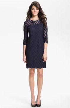 Adrianna Papell Illusion Yoke Lace Sheath Dress available at #Nordstrom - career or party dress
