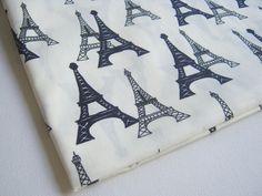 Eiffel Tower Fabric, Fabric of  Paris, White  fabric, Paris tourist attraction, Dress, ipad case, handmade bag, Lady blouse, Pillow cover