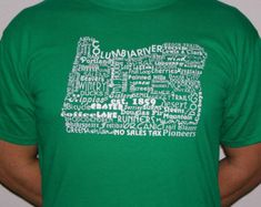 T-Shirt Oregon State Word Art Green Gift for him