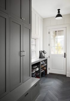 Lakewood Mudroom with Chevron Floors and Dark Gray Cabinets Mudroom Transitional Farmhouse by Design Grey Flooring, Mudroom, Mudroom Design, Laundry Room Remodel, Grey Cabinets, Mudroom Flooring, Mudroom Laundry Room, Grey Kitchen Floor, Herringbone Tile Floors