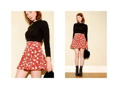 90s Floral SKATER SKIRT xs small by blackmoonsky on Etsy