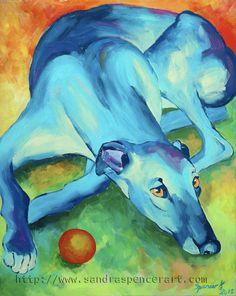 Original Greyhound Painting 15x20 big blue and fun. $105.00, via Etsy.
