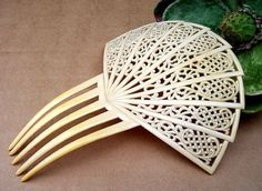 Art Deco Hair Comb Art Deco White Celluloid by DragonsLairVintage