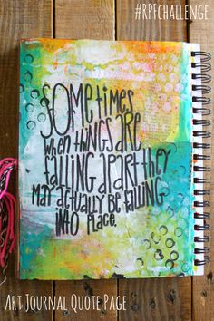 Rock Paper Feather: Art Journal Challenge Quote Page