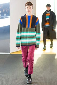 TAILORED STRIPES Radically engineered stripes / Printed or yarn-dyed stripes / Stripes combine with jacquard, overprinting and pleating / Mixed stripe widths and colors / New take on traditional nautical stripe including line distortion and disruption