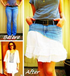 Ruffled Denim Skirt Refashion #howto #tutorial I could do this with my blue spotty rara skirt and some lace???
