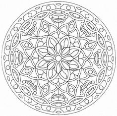 "Elegant Mandala with fine lines - Mandala is a Sanskrit word that loosely translates to mean ""circle"" or ""center. This is a simple and very symmetric Mandala coloring page. When the plant world fits perfectly into a Mandala drawing, that Free Adult Coloring Pages, Mandala Coloring Pages, Coloring Book Pages, Printable Coloring Pages, Free Coloring, Kids Coloring, Coloring Sheets, Mandalas Painting, Mandalas Drawing"