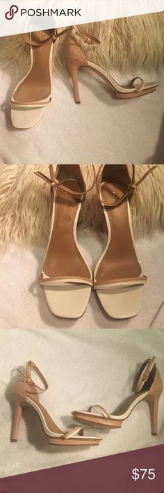 Calvin Klein nude and white heels Vintage, unworn nude and white sandals with a three inch heel, they're store samples and we're only in store for a very limited time Calvin Klein Shoes Heels