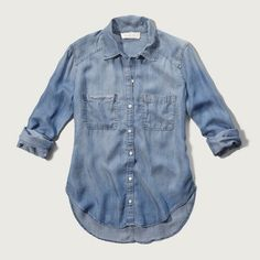 Abercrombie & Fitch Drapey Chambray Shirt ($58) ❤ liked on Polyvore featuring tops, chambray, abercrombie fitch shirt, drapey top, drapey shirt, abercrombie fitch top and blue top