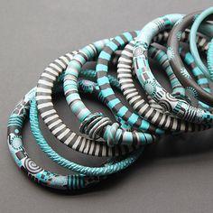 aqua bangles - polymer clay - Kim Otterbein  Design