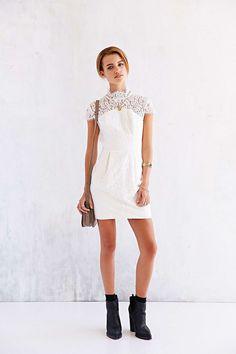 Keepsake Run The World Lace-Top Shift Dress - Urban Outfitters [@its_helenxx]