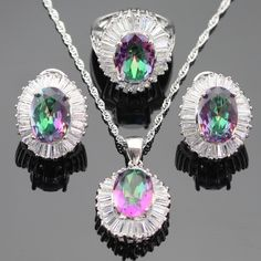 Multicolor Rainbow Crystal White Cubic Zirconia Silver Color Jewelry Sets For Women Earrings Necklace Pendant Ring Free Gift Box