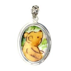 Broken China Jewelry Royal Doulton Classic Winnie the Pooh Bear Close Up Sterling Pendant