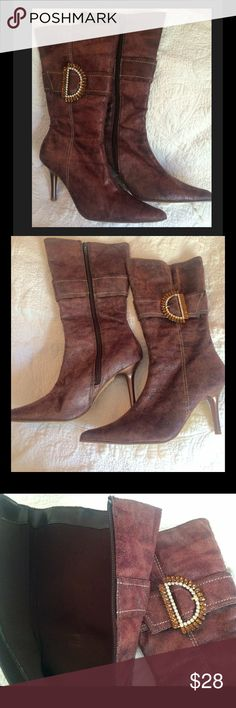 HPLA MID CALF BOOTS 6.5 Beautiful brown mid calf boots with jewel detailing by HPLA. Barely worn, textured outsides with bronze heel and pointy toe. Dress up your jeans or pair with a classy skirt, these timeless boots can take you anywhere! Size 6.5, no box. HPLA Shoes Heeled Boots
