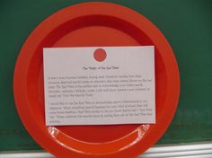 "I LOVE this idea.  ""The Red Plate Project"".  Send home the plate and a note the first week of school.  It tells parents about a tradition of celebrating special accomplishments by eating dinner with a red plate.  When students have a great day, the teacher sends home a note saying they had a ""Red Plate Day"" and please celebrate by letting them eat off the red plate for dinner!  I think I'll give these out at Open House!"