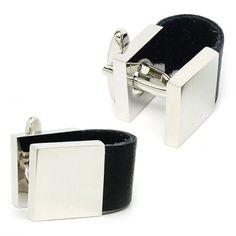 Classic black leather chain cufflinks