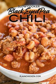 Black Eyed Pea Chili – chili made with black eyed peas Black Eyed Pea Chili – seriously delicious! So simple… Chili Recipes, Slow Cooker Recipes, Crockpot Recipes, Soup Recipes, Cooking Recipes, Bean Recipes, Blackeyed Pea Recipes, Dry Beans Recipe, Recipes