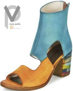 Vera Pelle Stiefeletten 8cm Damen Stiefel Boots Echtleder Blau Braun Apropos