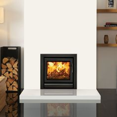 Stovax Riva 50 Inset Multifuel / Woodburning Stove - Multi Fuel Inset Stoves - All Stoves - Stoves Are Us Log Burner Living Room, Living Room Tv, Living Room With Fireplace, Living Room Interior, Wood Burner Fireplace, Modern Fireplace, Fireplace Design, Inset Log Burners, Inset Stoves