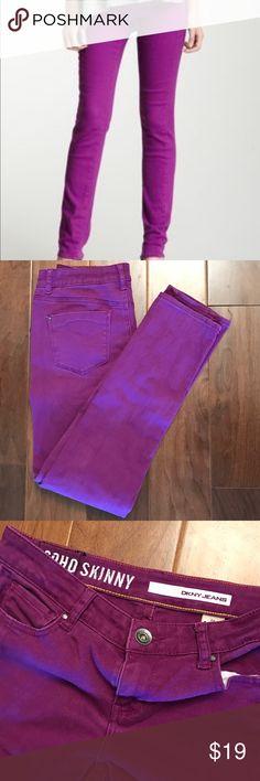 DKNY soho skinny purple jeans, size 4 DKNY soho skinny purple jeans, size 4. Excellent used condition, beautiful color! Waist measures 32 inches, inseam measures 32 inches. DKNY Jeans Skinny